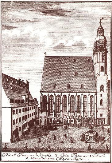 4b. Escuela e Iglesia de  Reponder Santo Tomás, Leipzig, grabado, 1723
